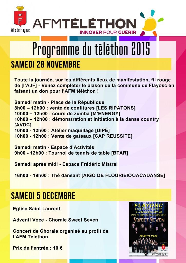 Programme téléthon 2015