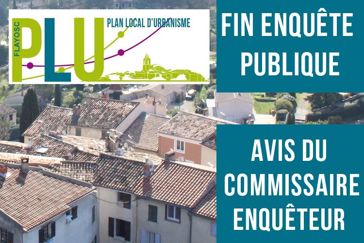 Plan Local d'Urbanisme : Fin de l'enquête publique et avis du commissaire enquêteur en ligne