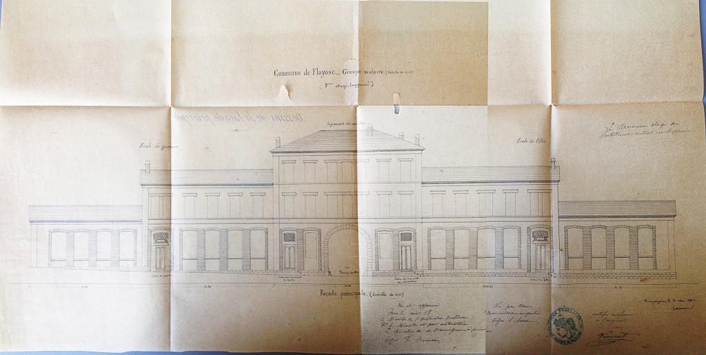 Dessin de 1882 du batiment par l'architecte