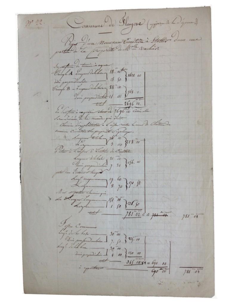Devis pour la construction du nouveau cimetière sur le terrain de Mlle Vachier en 1854