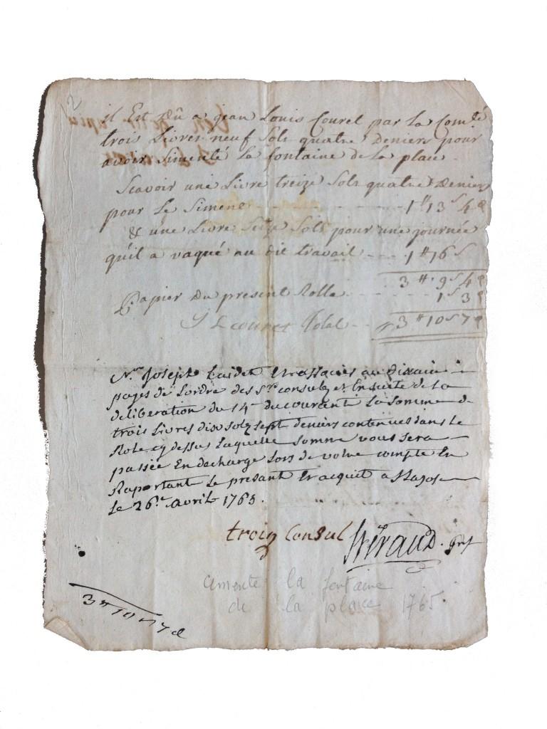 FACTURE DE TRAVAUX SUR LA FONTAINE DATANT DU 26 AVRIL 1763