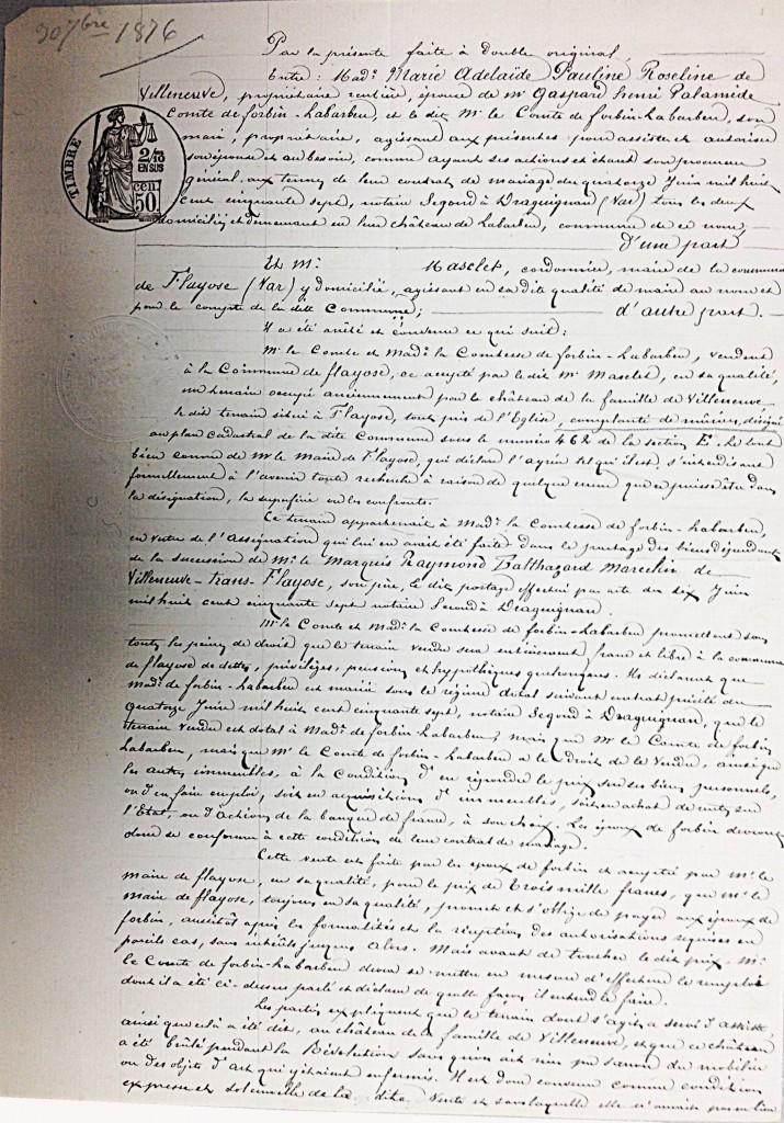 L'acte notarier entre le comte de Forbin et la mairie
