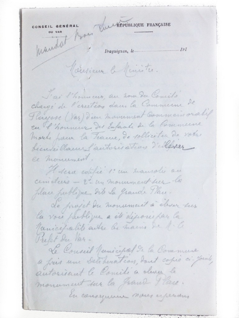 Lettre du maire au ministre pour demander l'érection du monument aux morts