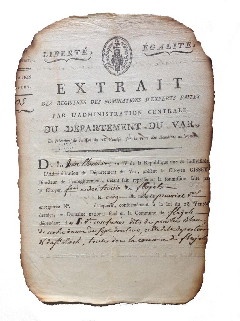 Mention de la chapelle en 1796 à propos de sa vente avec d'autres chapelles communales