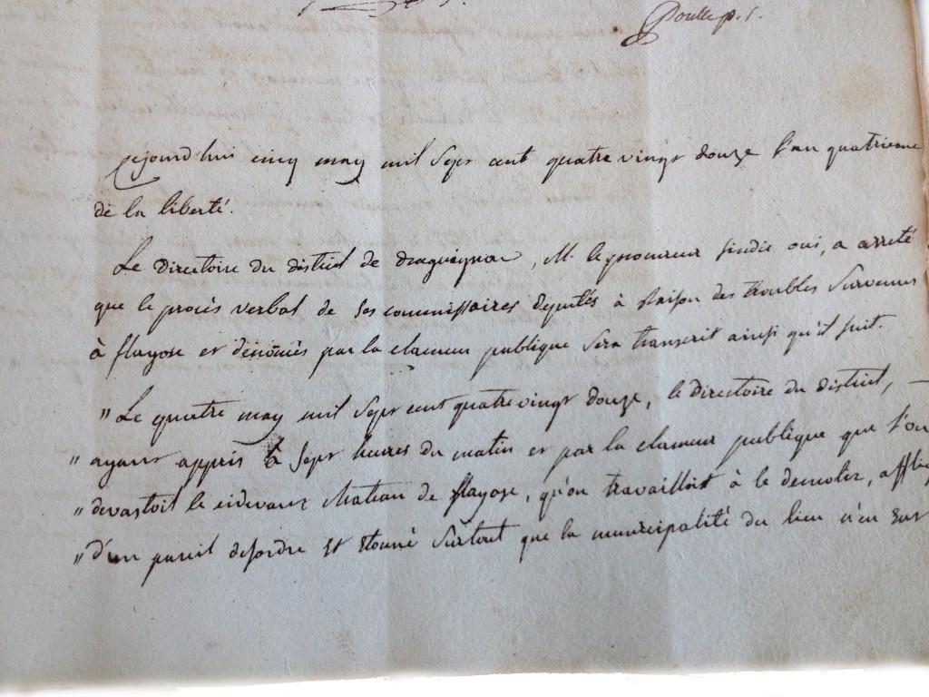 Procès verbal du directoire du district de draguignan page1(4 mai 1792)