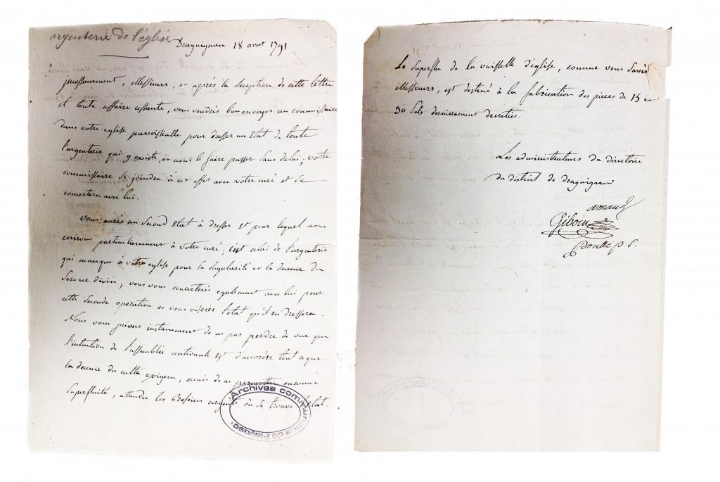 Saisie de l'argenterie des biens de l'eglise18 Aout 1791