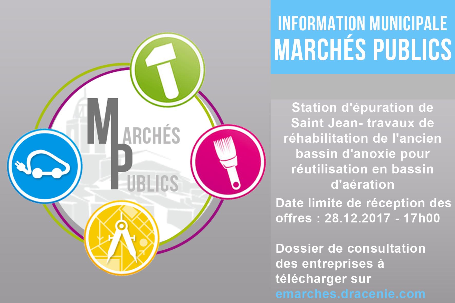MAPA Station d'épuration de Saint Jean- travaux de réhabilitation de l'ancien bassin d'anoxie pour réutilisation en bassin d'aération