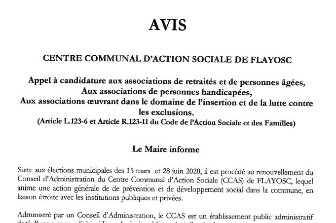 Appel candidature renouvellement intégral du Conseil d'Administration CCAS