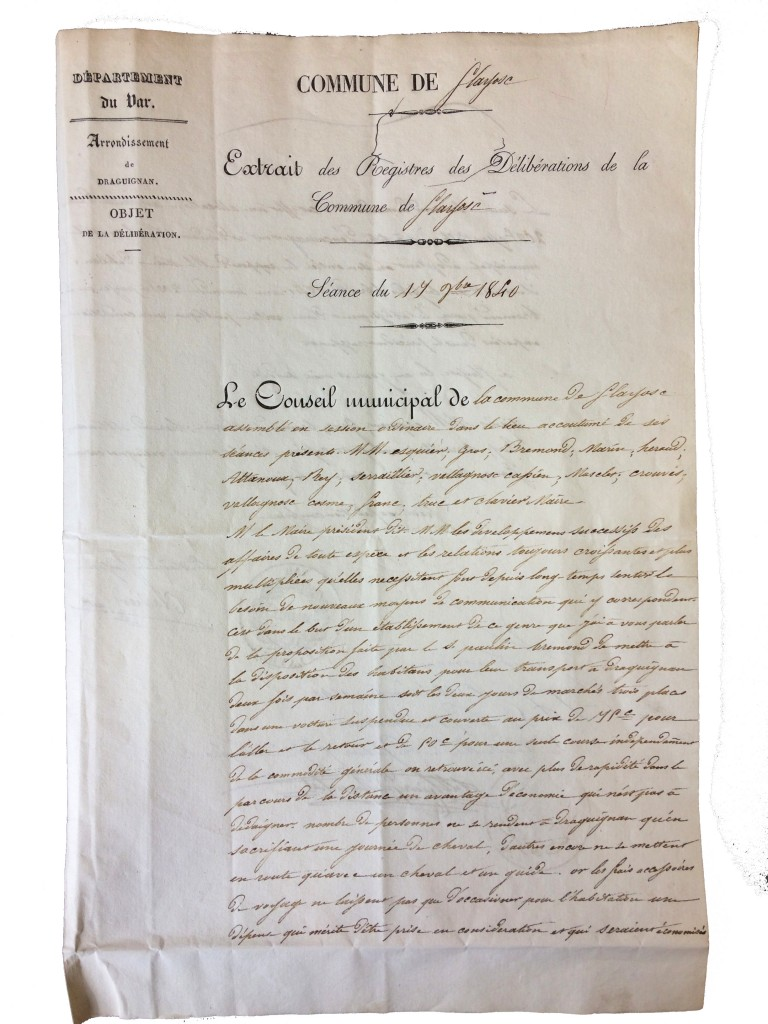 Compte rendu de conseil municipal montrant la necessité d'une liaison Flayosc Draguignan