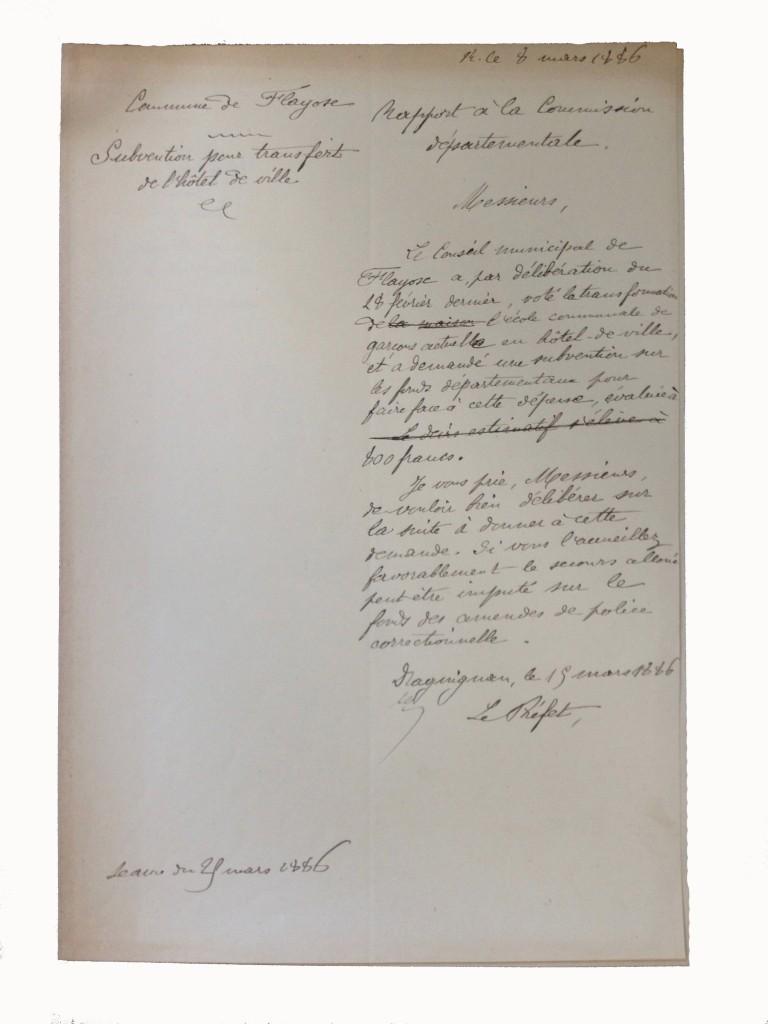 Demande de subvention municipale du 8 mars 1886