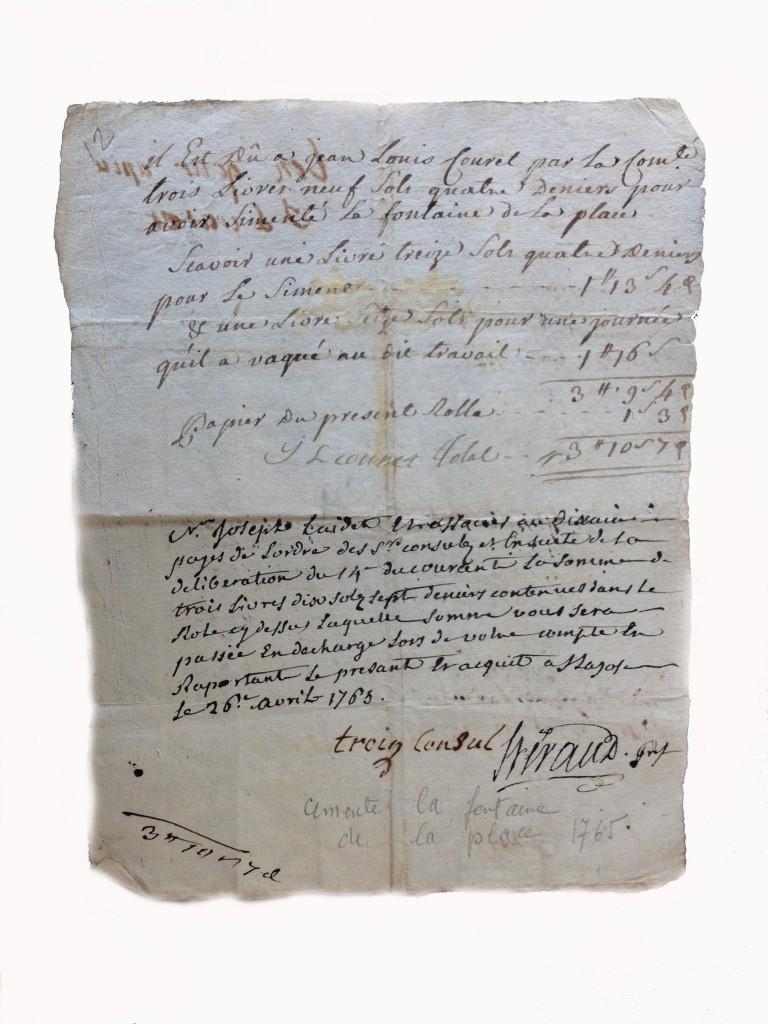 Facture et reconnaissanc de dettes pour la restauration de la fontaine en 1765