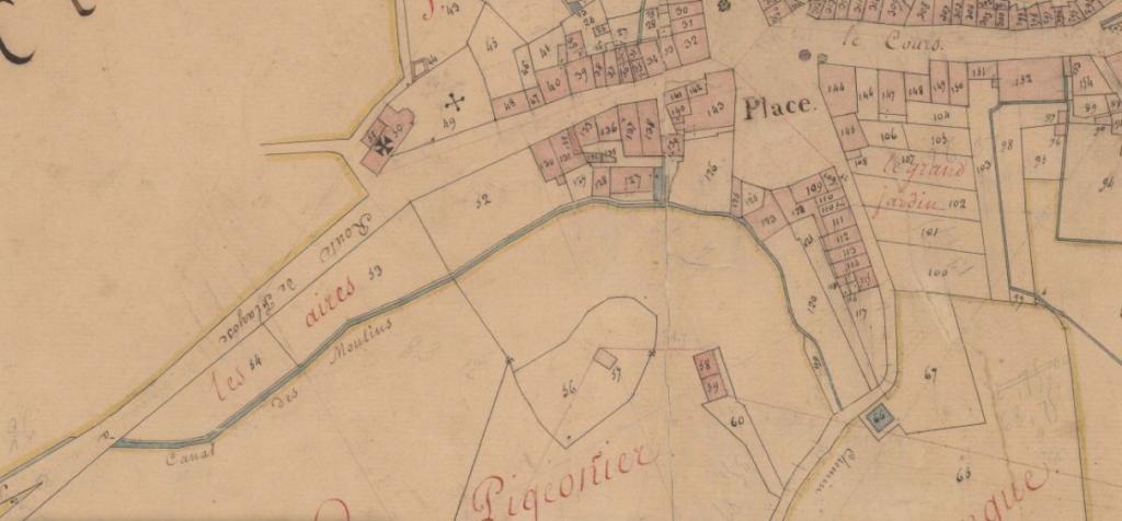Le cana des moulins sur le plan cadastral napoleonien (1808-1848)