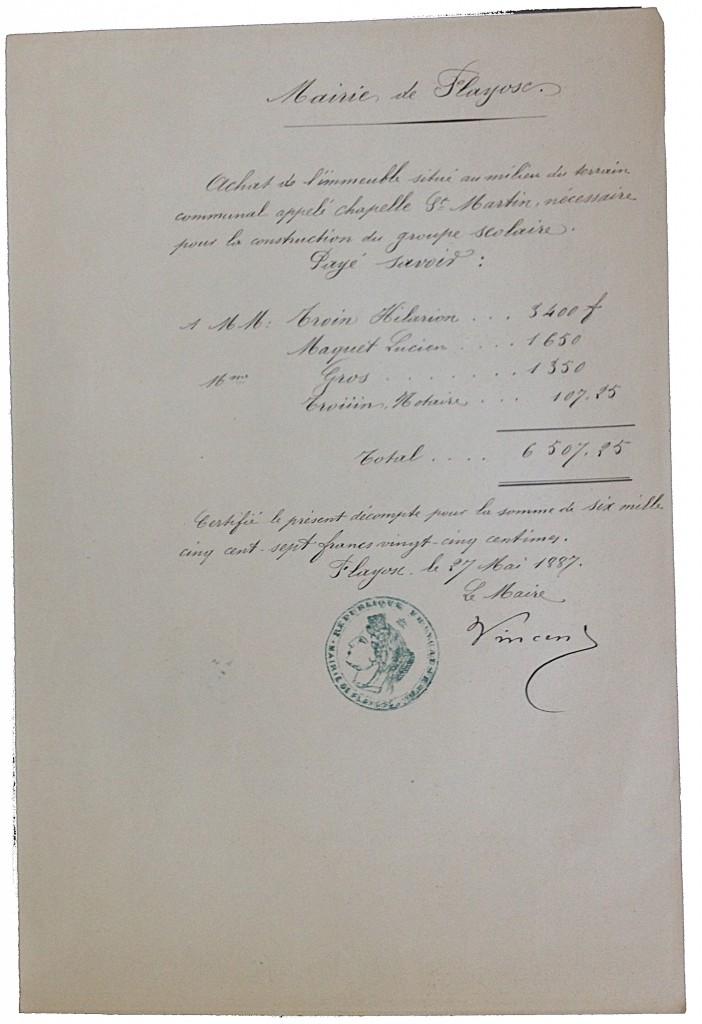 Le récapitulatif de l'achat de la chapelle St Martin en 1887