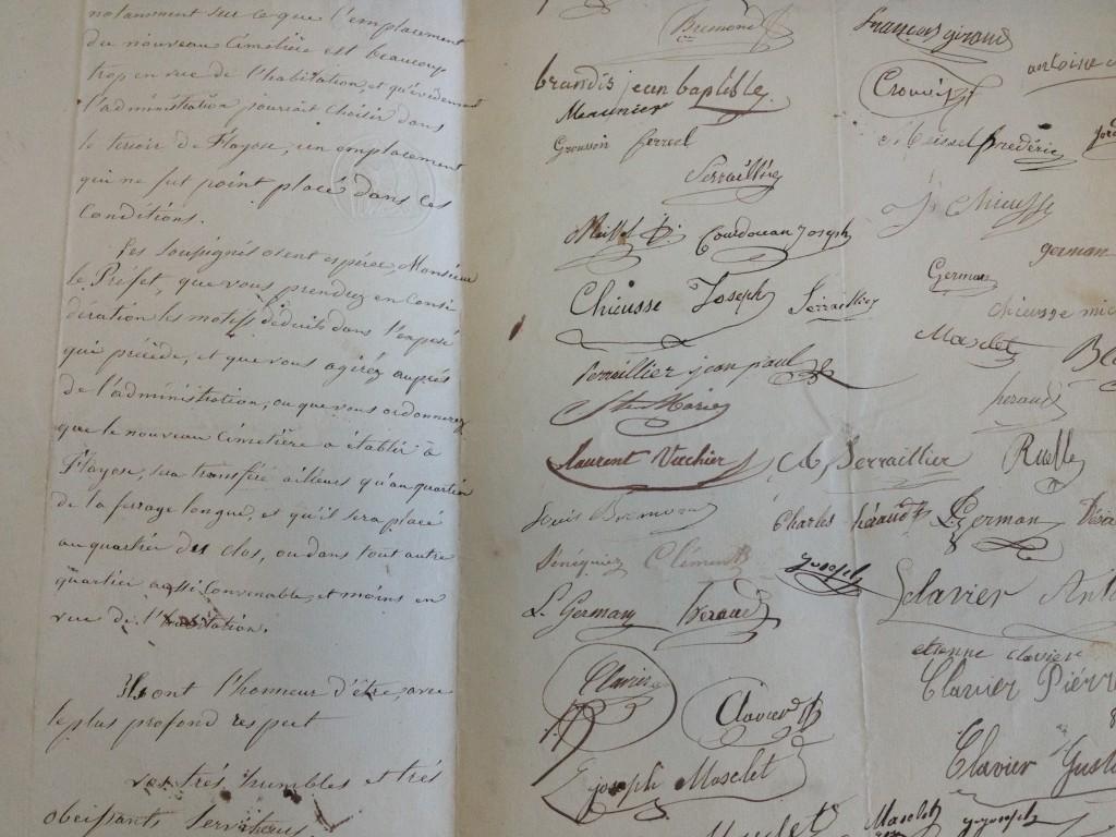 Petition contre le nouveau cimetière (24 mars 1855)