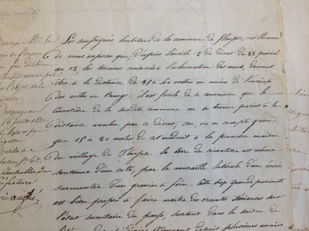 Plainte des habitants à propos de l'état du cimetière en 1841